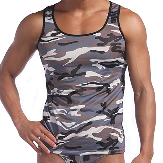 3d294229e17c3 Men's Summer Cool Tank Tops Army Camo Camouflage Printed Vest T-shirt,Grey S