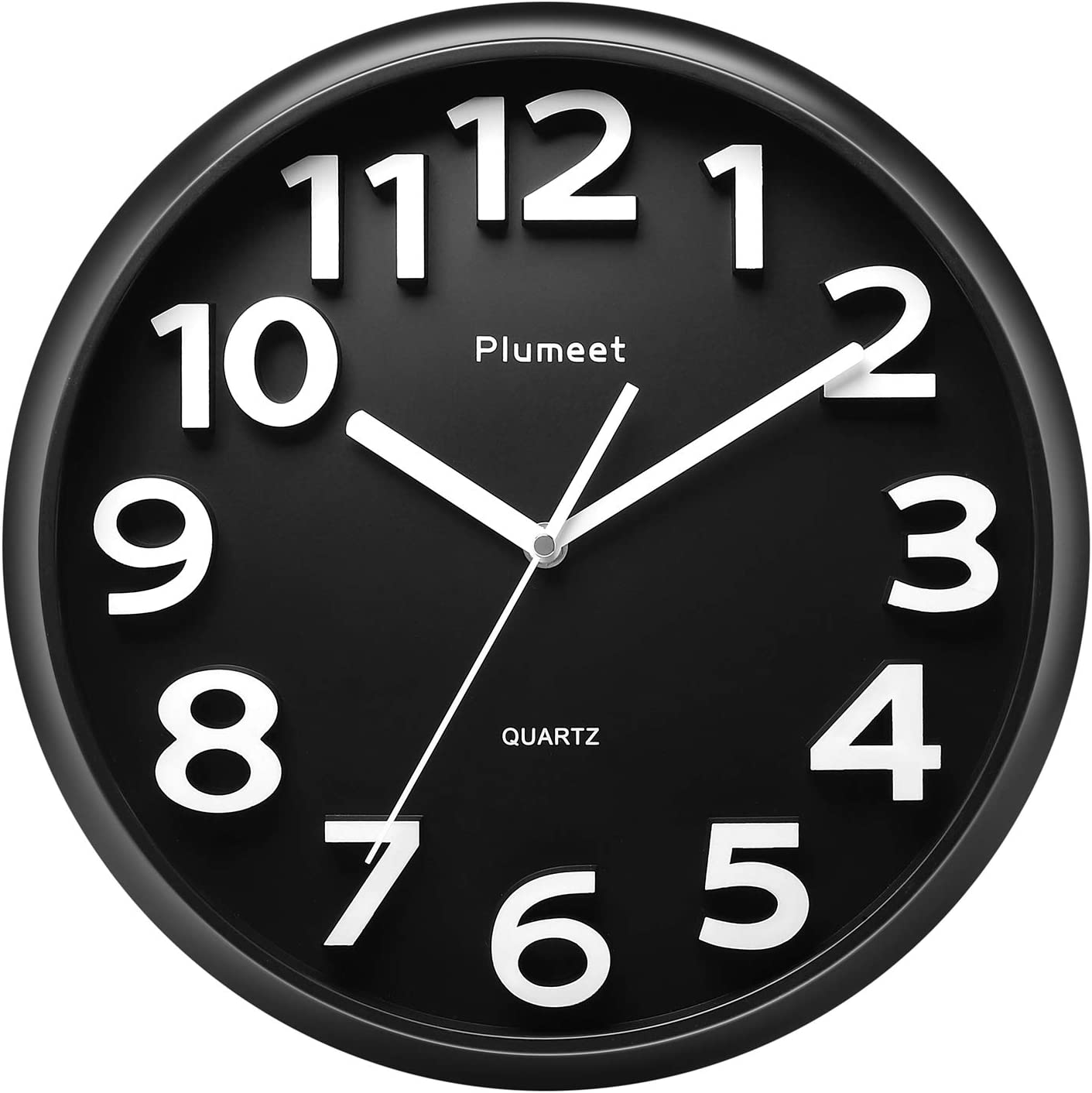 Reloj de pared grande de 33 cm, relojes de Plumeet decorativos de cuarzo silencioso que no hace tictac, gran pantalla de números tridimensionales, con pilas (Negro)