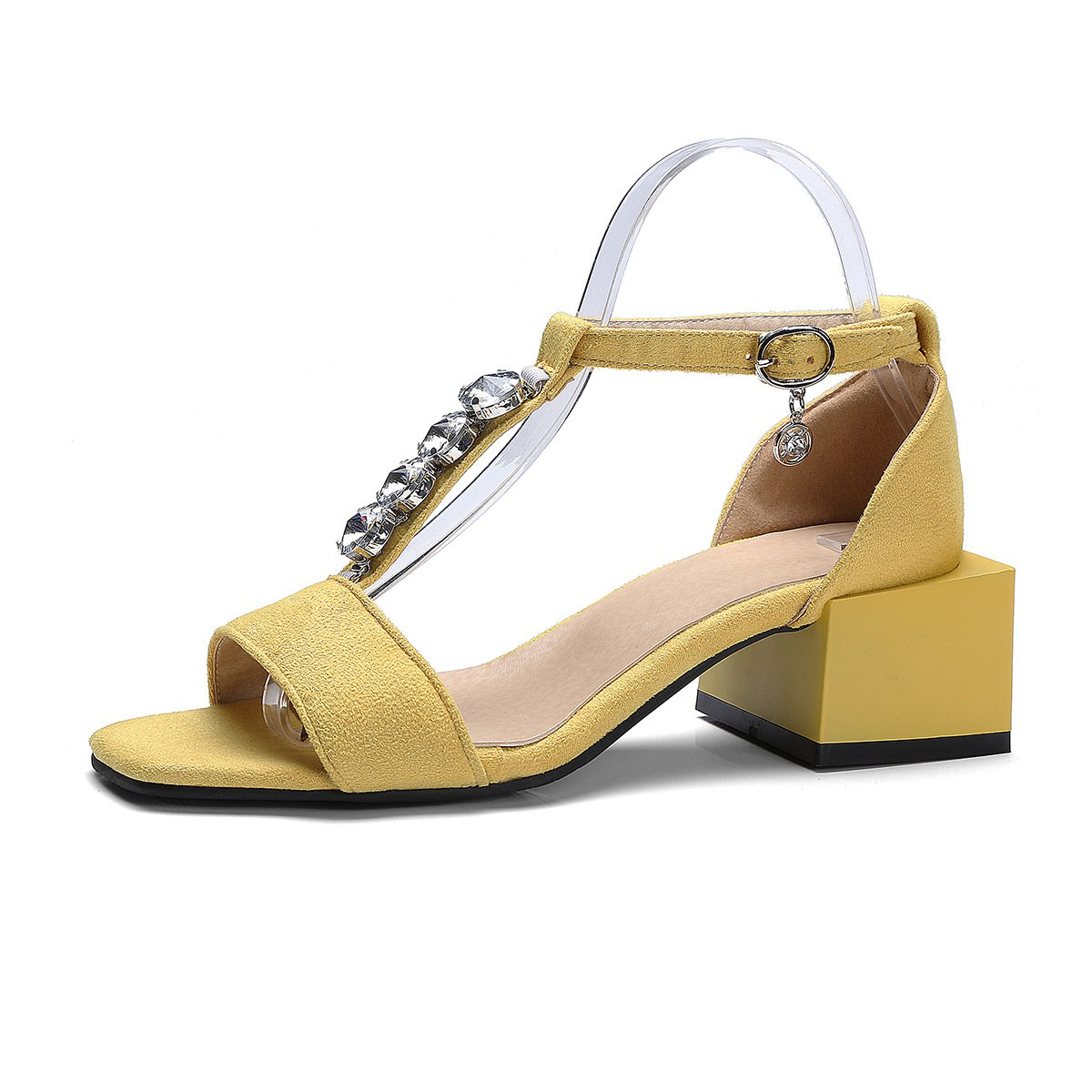 QIN&X Block der Frauen Yellow Heels Peep Toe Sandalen Yellow Frauen f9a0c4