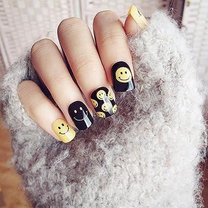jovono plena de las mujeres falsas uñas consejos sonrisa cara patrón uñas postizas para fiesta de Halloween