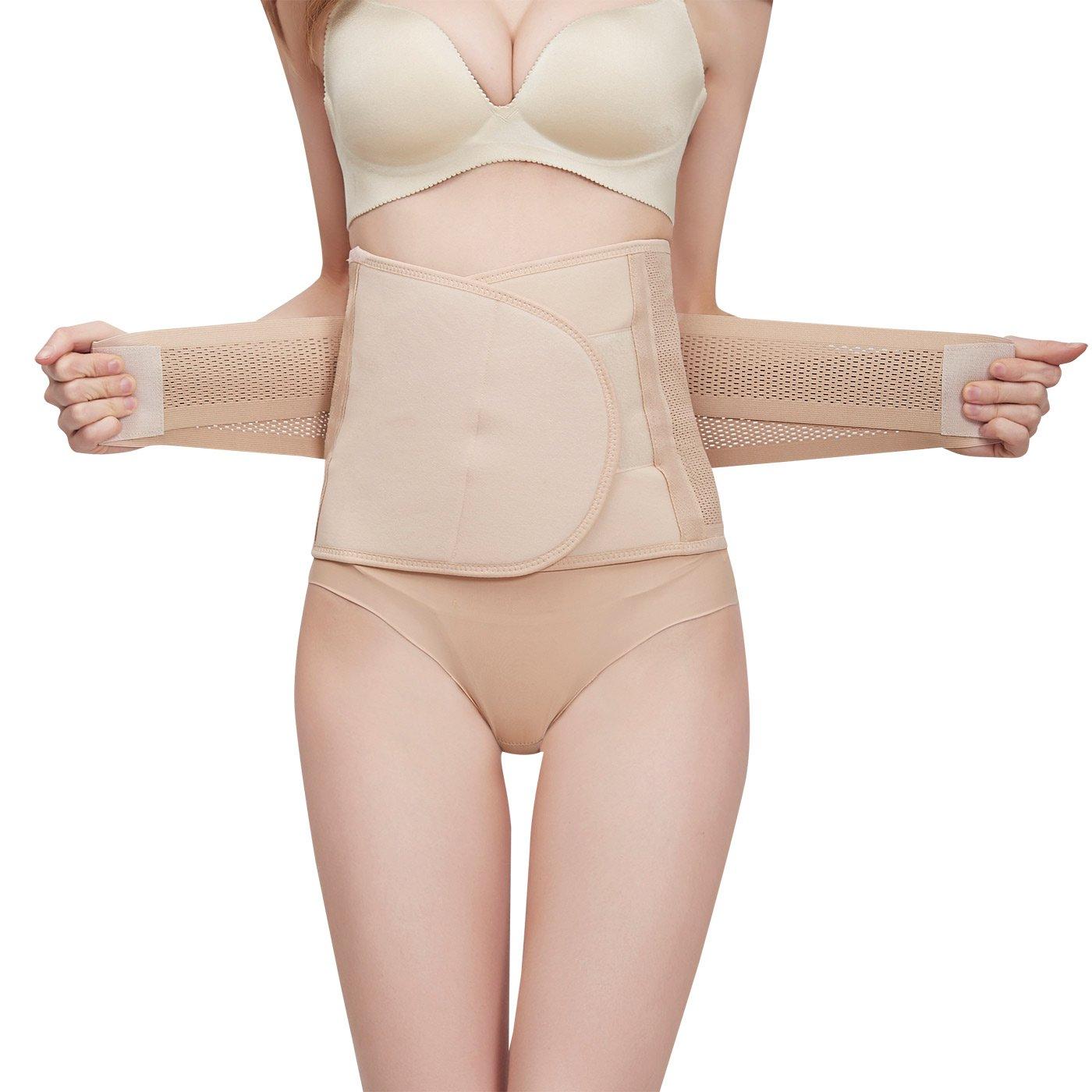 FEOYA Postpartum Support Belt Original Belly Recovery Wrap Waist Trainer Pelvis Body Shapewear Belts for Women