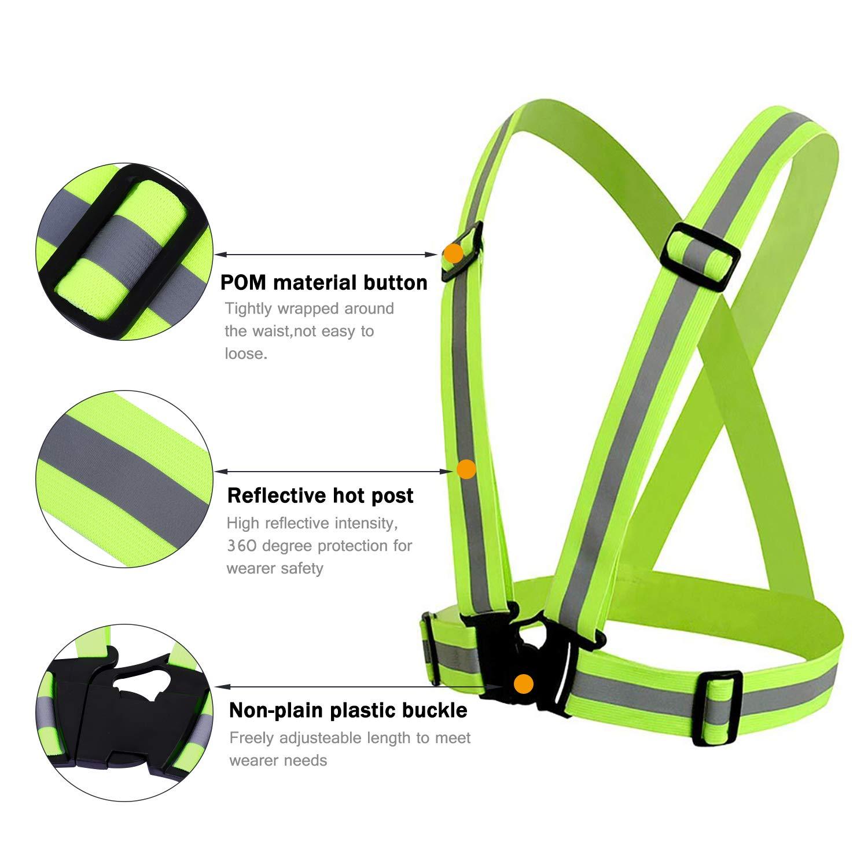 QH-shop Chaleco de Seguridad Ajustable Elástico Reflectantes de Cinturón Alta Visibilidad para Niño y Adulto para Correr Senderismo Ciclismo Carreras ...
