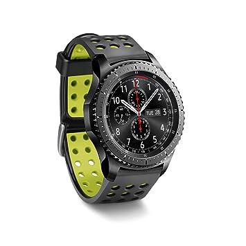 Greatfine 22mm Silicona Banda de Reloj de Correa para Samsung Gear 2 / Moto 360 2nd/Pebble Time/LG / Urbane Smartwatch (BlackYellow)
