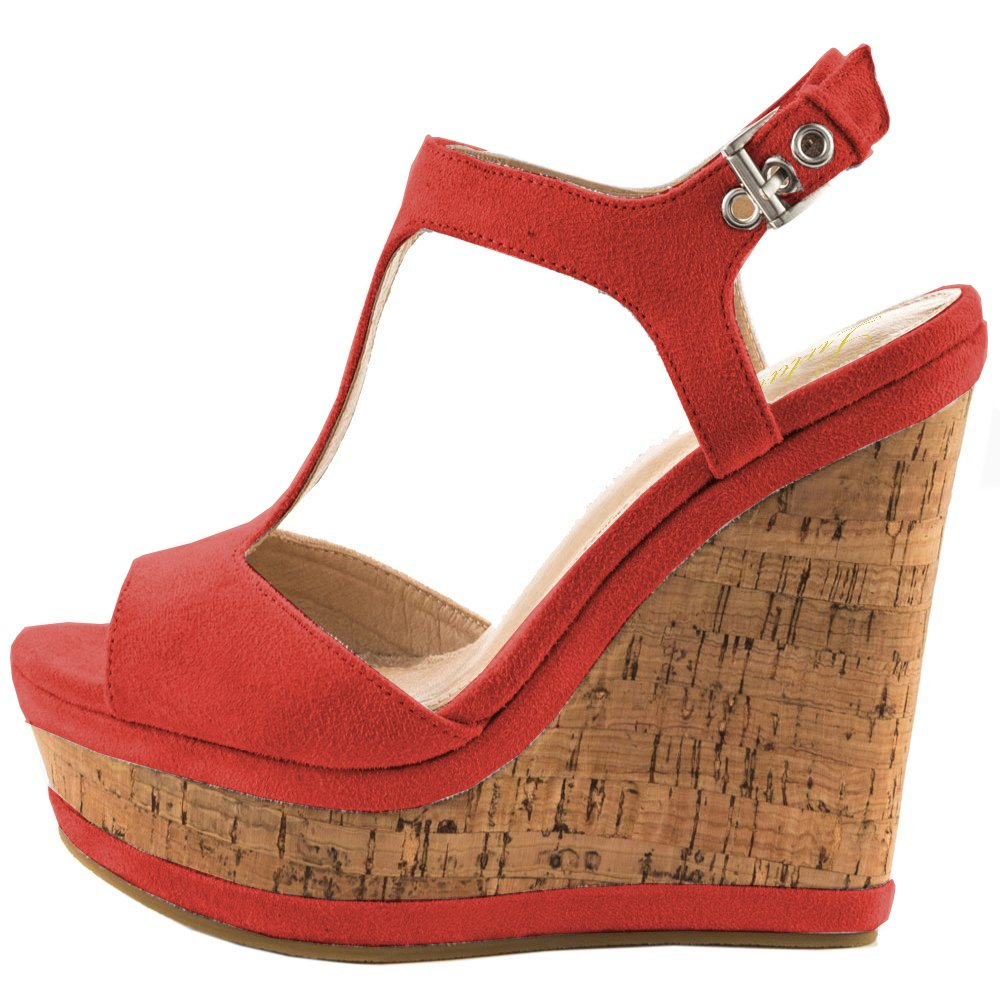 Red Lutalica Women Sexy Suede Peep Toe Wedge Ankle Straps High Heel Summer Sandals Size 5.5-12 US