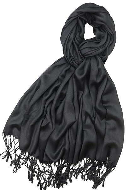 0a7b1d7b66c72 Achillea Women's Super Soft Luxurious Pashmina Shawl Wrap Scarf Stole in Solid  Colors (Black)