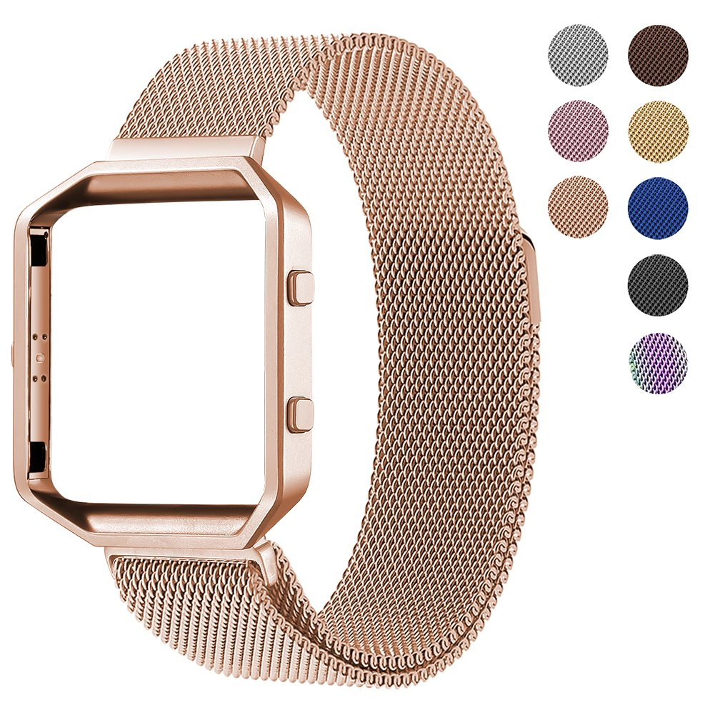 For Fitbit Blaze Accessory Band,Small (5.5-6.7 in),Oitom Frame Housing+Milanese loop Stailess Steel Band for Fitbit Blaze Smart Watch Fitness Tracker Women Rose Gold
