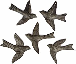 Set of 5 Small Birds Flying,Haitian Recycled Metal Drum Wall Art, Nature Inspired