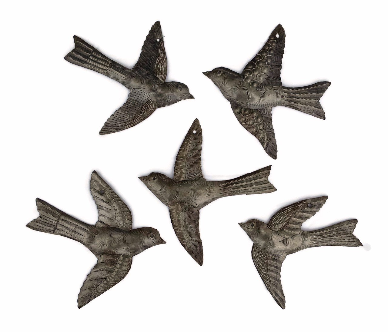 Set of 5 Small Birds Flying,Haitian Recycled Metal Drum Wall Art, Nature Inspired by it's cactus - metal art haiti