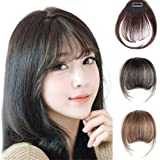 Remeehi Mini Air Flat Bangs/Fringe Hair Extensions Real Human Hair Hand Tied Bangs With Side Temples