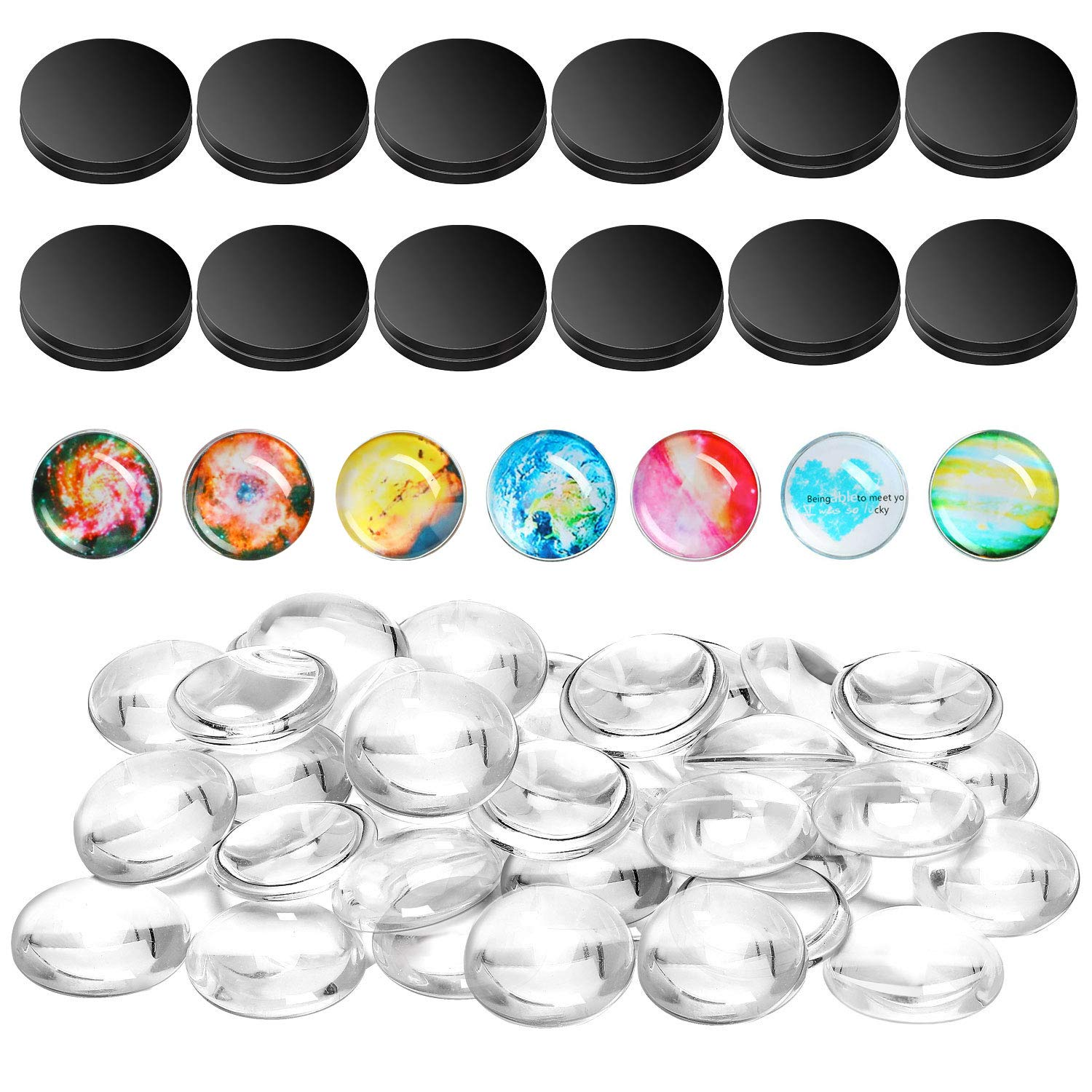 DIY Refrigerator Magnets 12 Pack Changeable Background Fridge Magnets 1-1//4 Inch Replaceable Photo Cards Magnets Decoration Creative Image Display