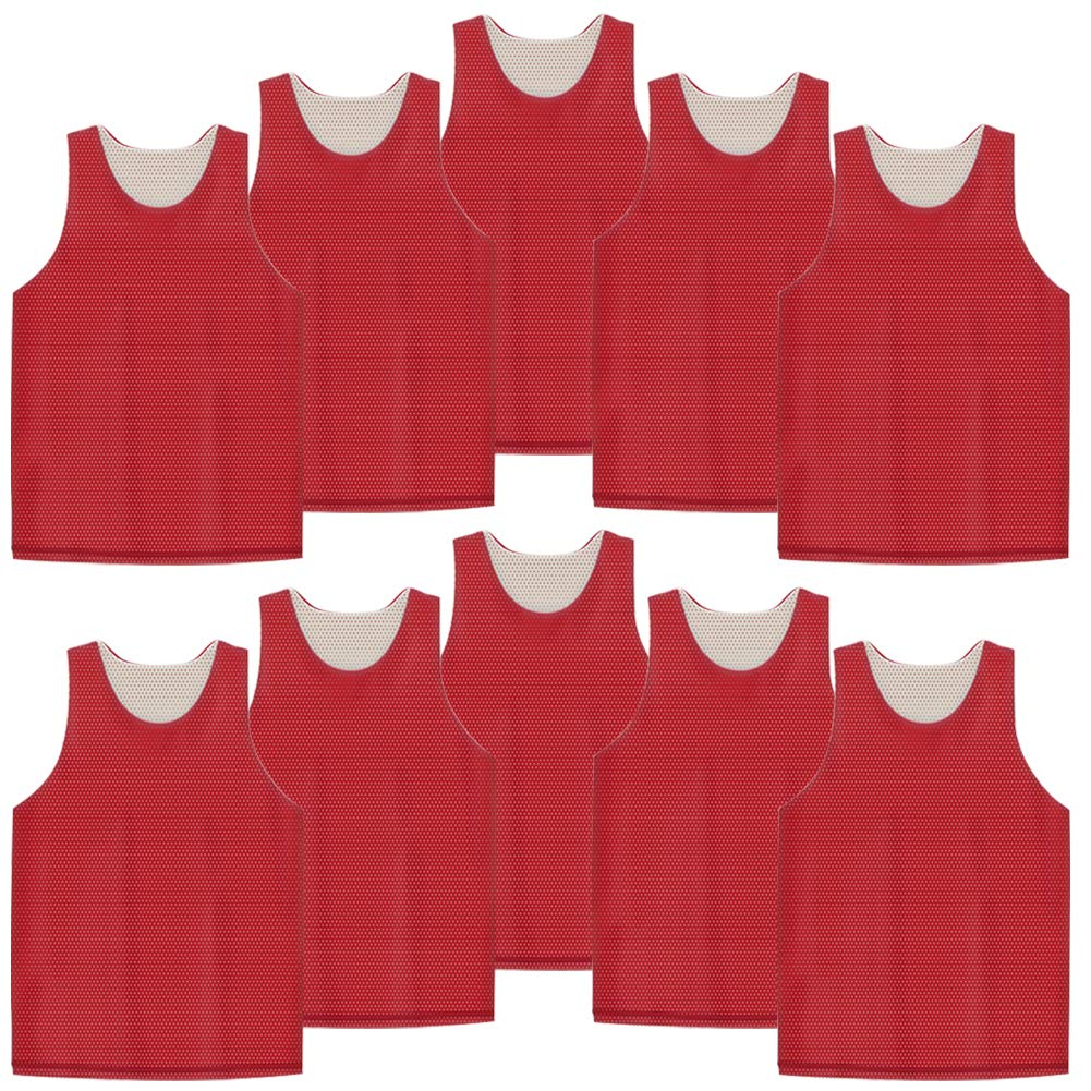 TOPTIE 10 Pack Men's Tank Top, Reversible Mesh Tank, Basketball Jerseys, Size Assorted-Red/White by TOPTIE