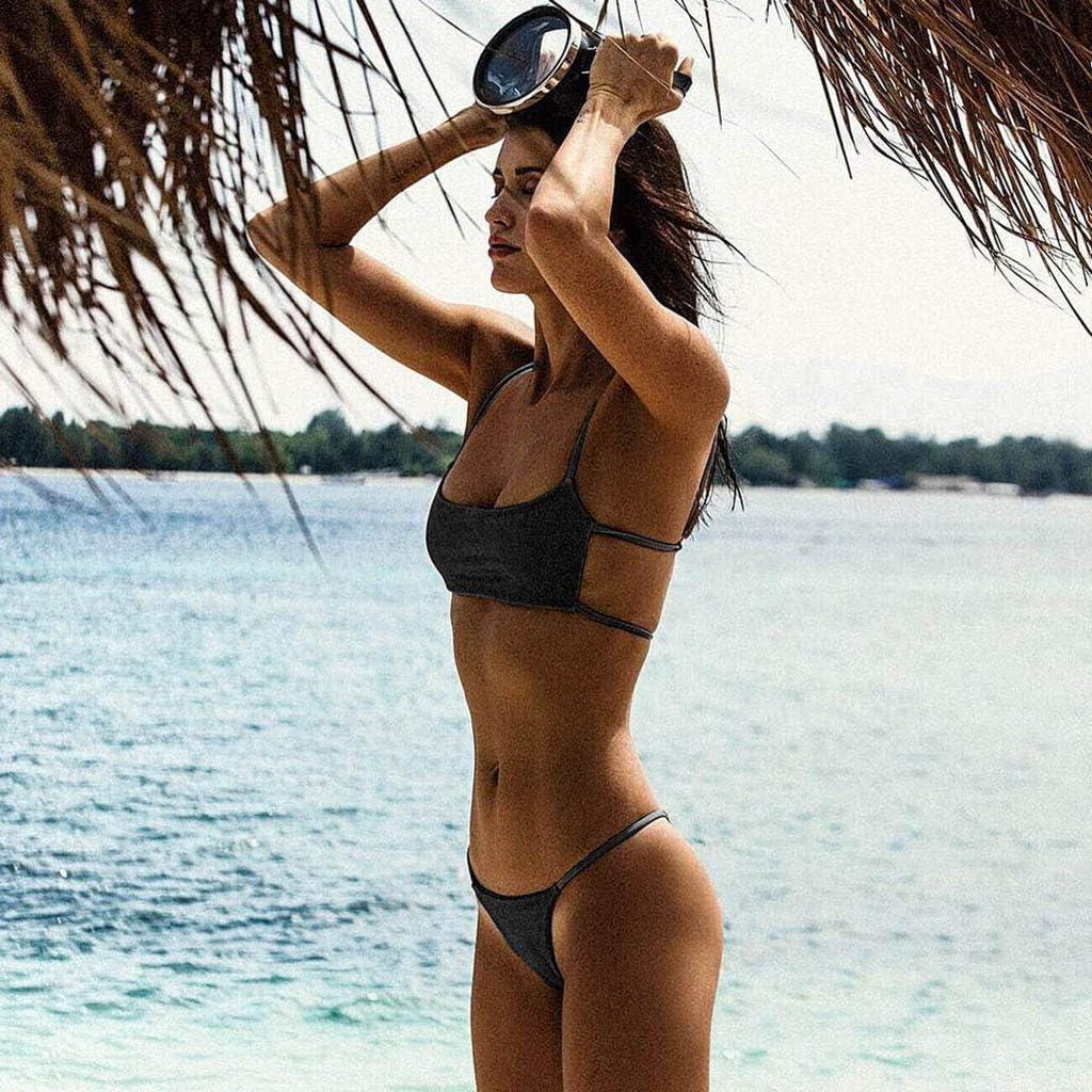 Women Swimwear Push Up Brazilian Bikini Set Anchor Print Cut Out Beach Swimsuit