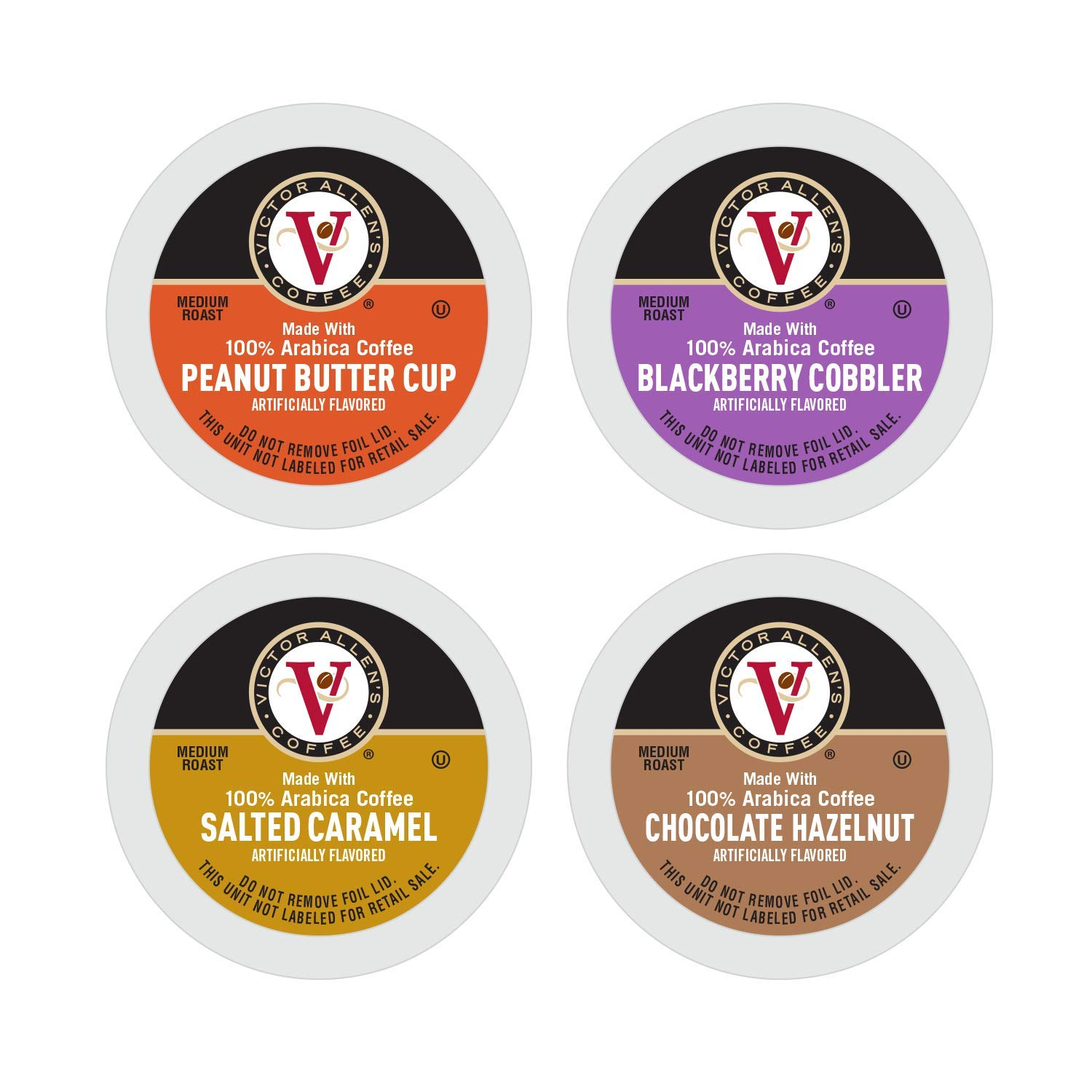 Sweet and Salty Variety Pack for K-Cup Keurig 2.0 Brewers, 96 Count, Peanut Butter Cup, Salted Caramel, Blackberry Cobbler, and Chocolate Hazelnut, Victor Allen's Coffee Single Serve Coffee Pods