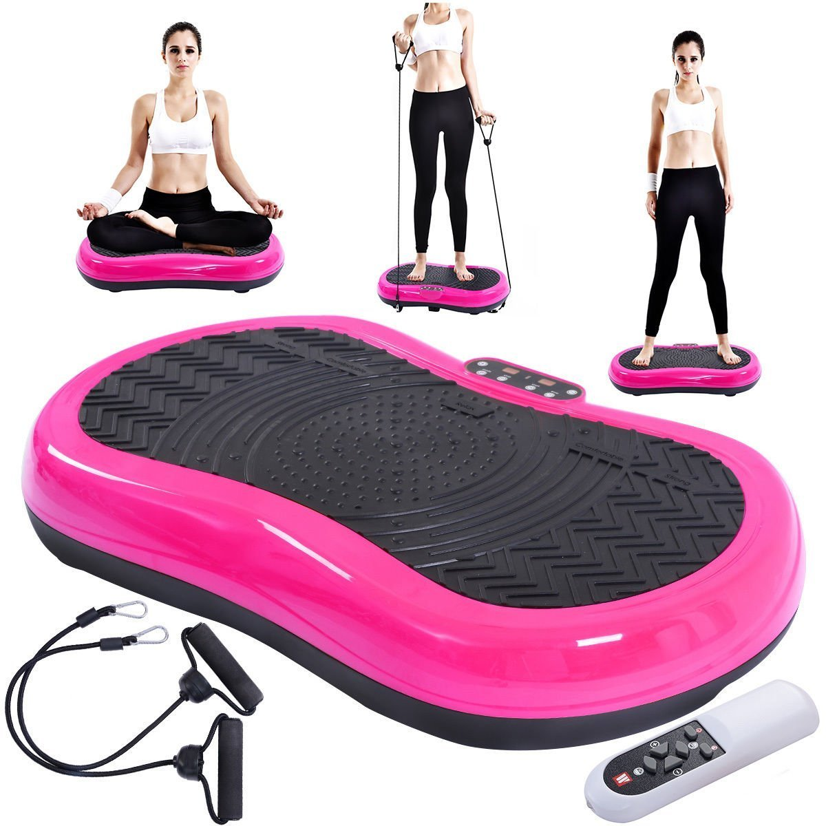 Tangkula Ultrathin Mini Crazy Fit Vibration Platform Massage Machine Fitness Gym (Pink) by Tangkula (Image #3)