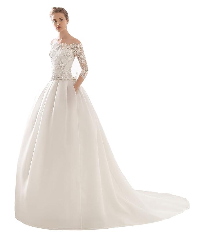 f3b562fdf472 Abito da sposa dalla linea svasata ROSA CLARA  - Mod. NARCISO (taglia 48)   Amazon.it  Abbigliamento