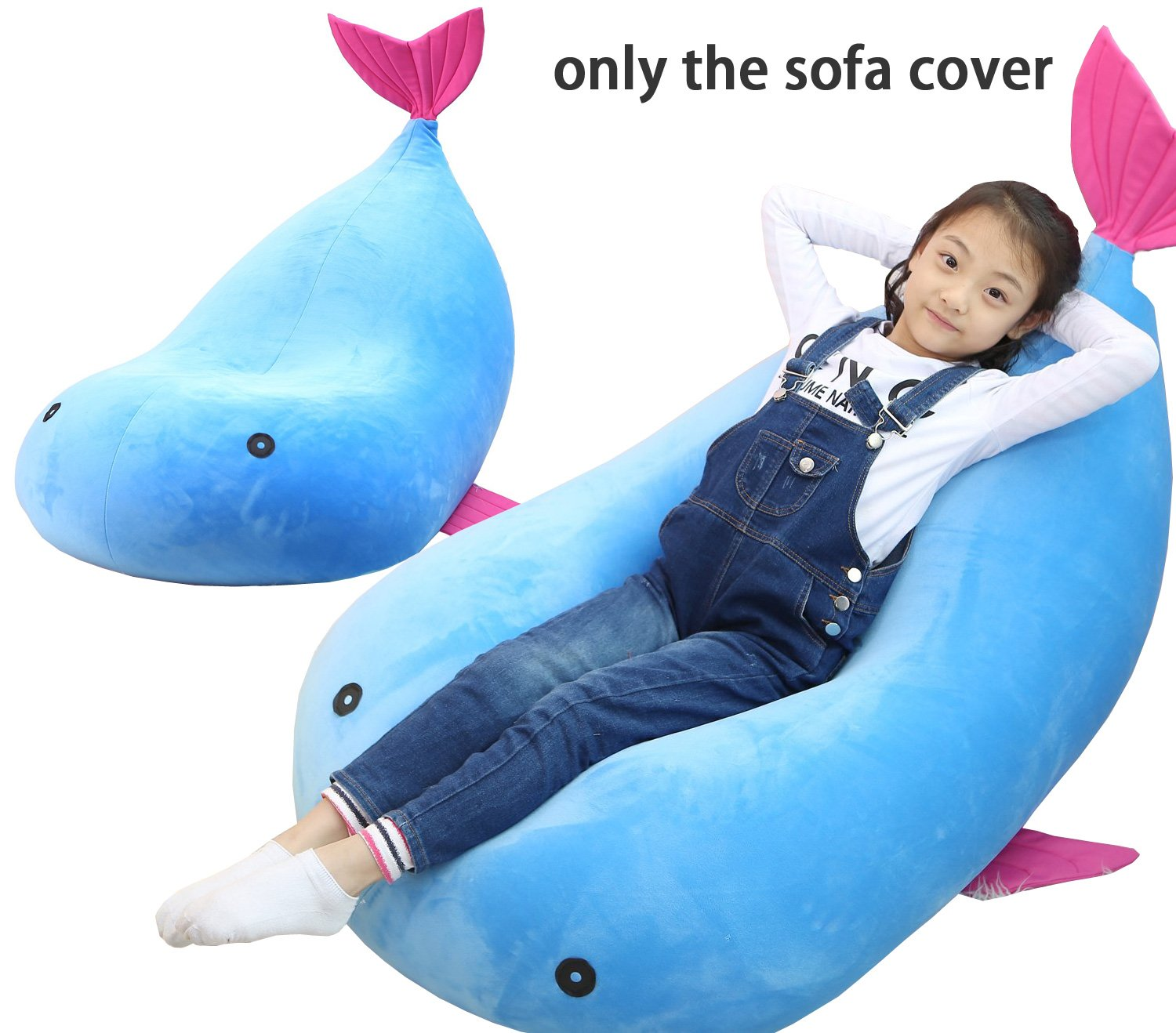 QuWei Bean Bags Chair Cartoon Fish DIY Comfortable Mini Sofa Indoor/Outdoor Soft Floor Cushion(Small) (blue) YE7446-S-Q1U