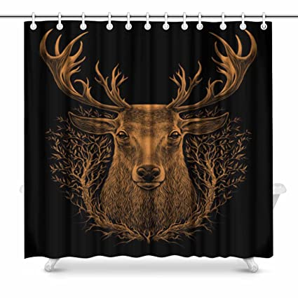 InterestPrint Graphic Of Whitetail Deer Head Fabric Bathroom Shower Curtain Set 72 X Inches