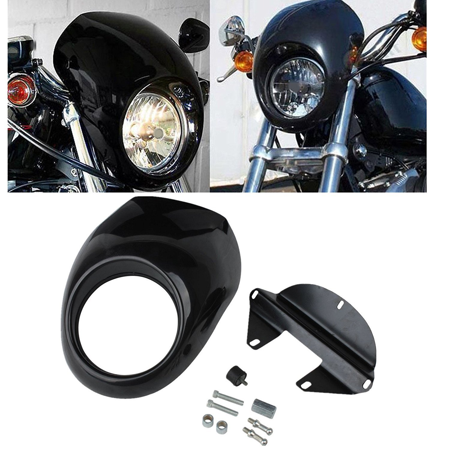 ICT Valvetronix Headlamp Bezel Front Cowling Lamp Mask Trim Cover for Harley Sportster Dyna FX//XL 1200/883