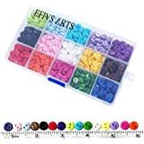 """Efivs Arts 1125 Pcs 0.35""""(9Mm) 2 Hole Sewing Flatback Resin Buttons For Sewing Diy Crafts Project With Box, 15 Colors"""