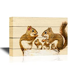 wall26 - Canvas Wall Art - A Mother, and Father Squirrel and Their Three Babies Eating Sunflower Seeds on a Birch Log - Gallery Wrap Modern Home Decor | Ready to Hang - 12x18 inches