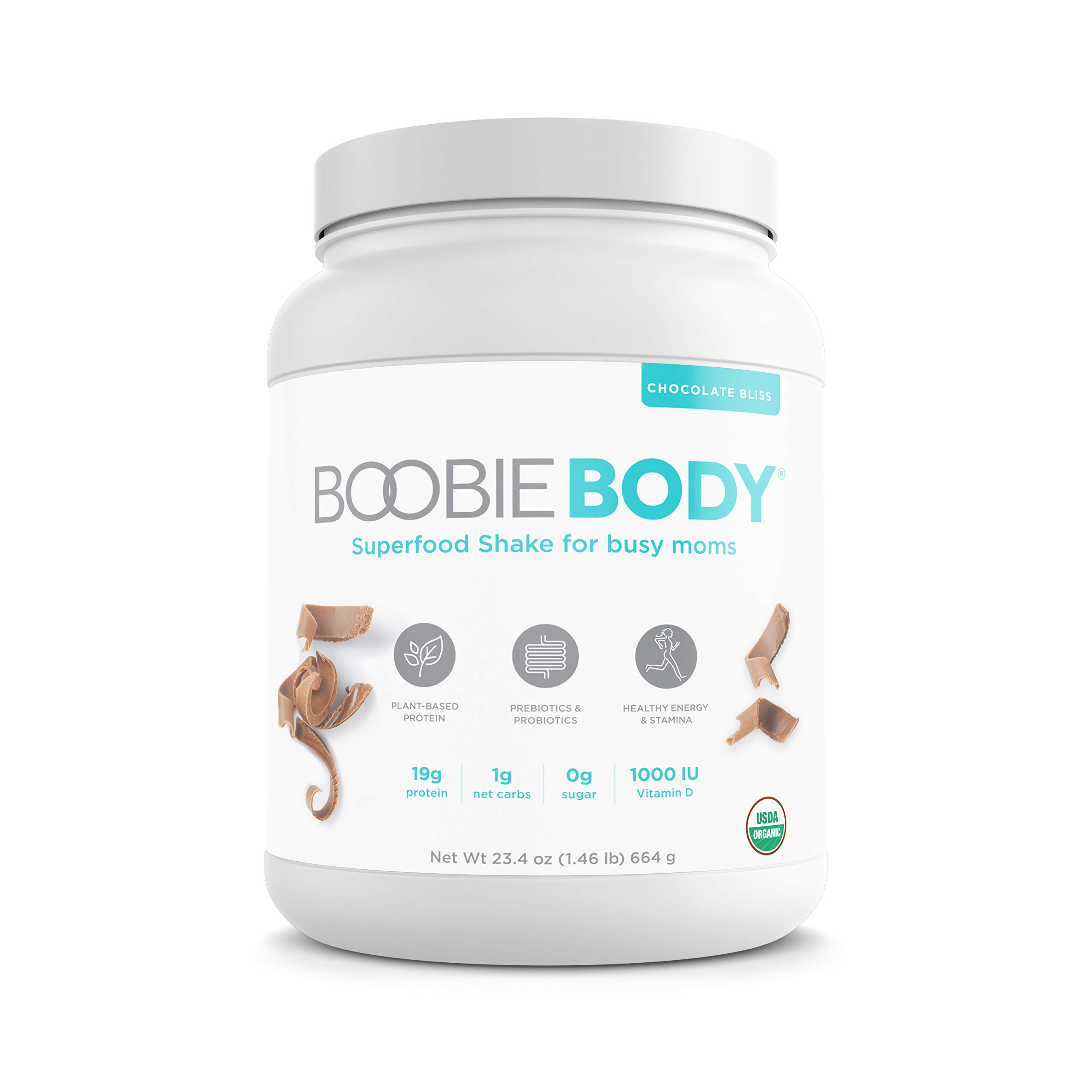 Boobie BODY Organic Superfood Shake, Protein-Plant-Based, Prebiotics & Probiotics, 20 servings, Chocolate Bliss, 23.4 oz. by Boobie Bar