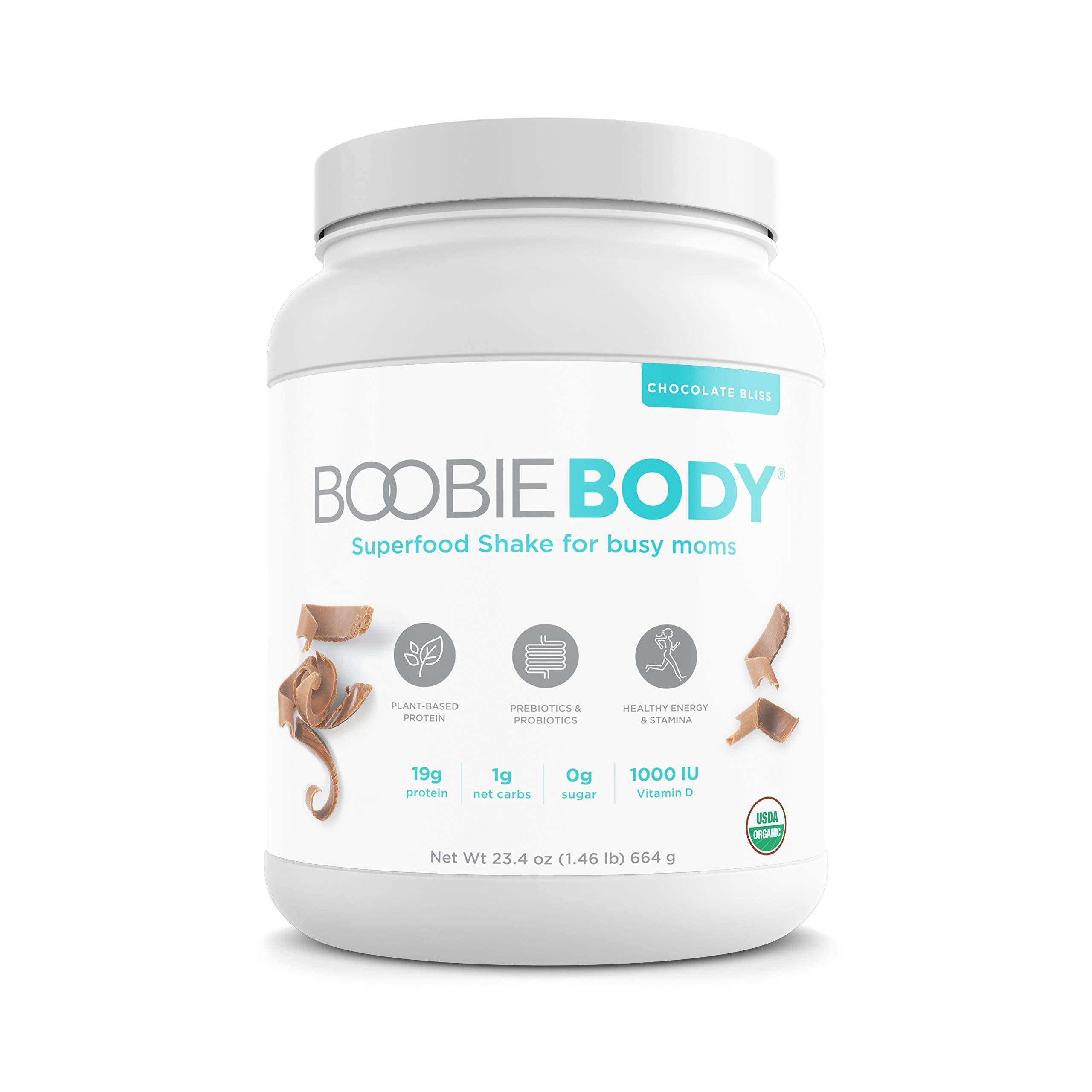 Boobie BODY Organic Superfood Shake, Protein-Plant-Based, Prebiotics & Probiotics, 20 servings, Chocolate Bliss, 23.4 oz.