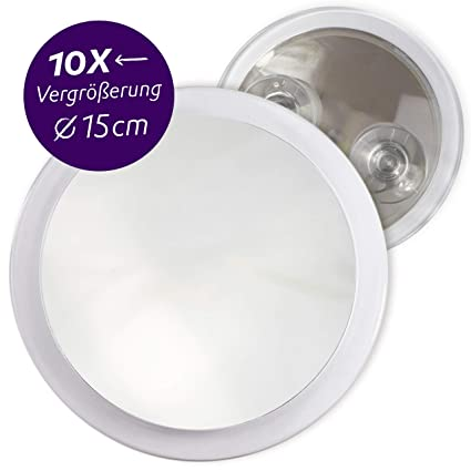 Specchi Ingranditori A Ventosa.Fantasia Specchio Ingrandente 10x Con Ventosa Acrilico O 15 Cm
