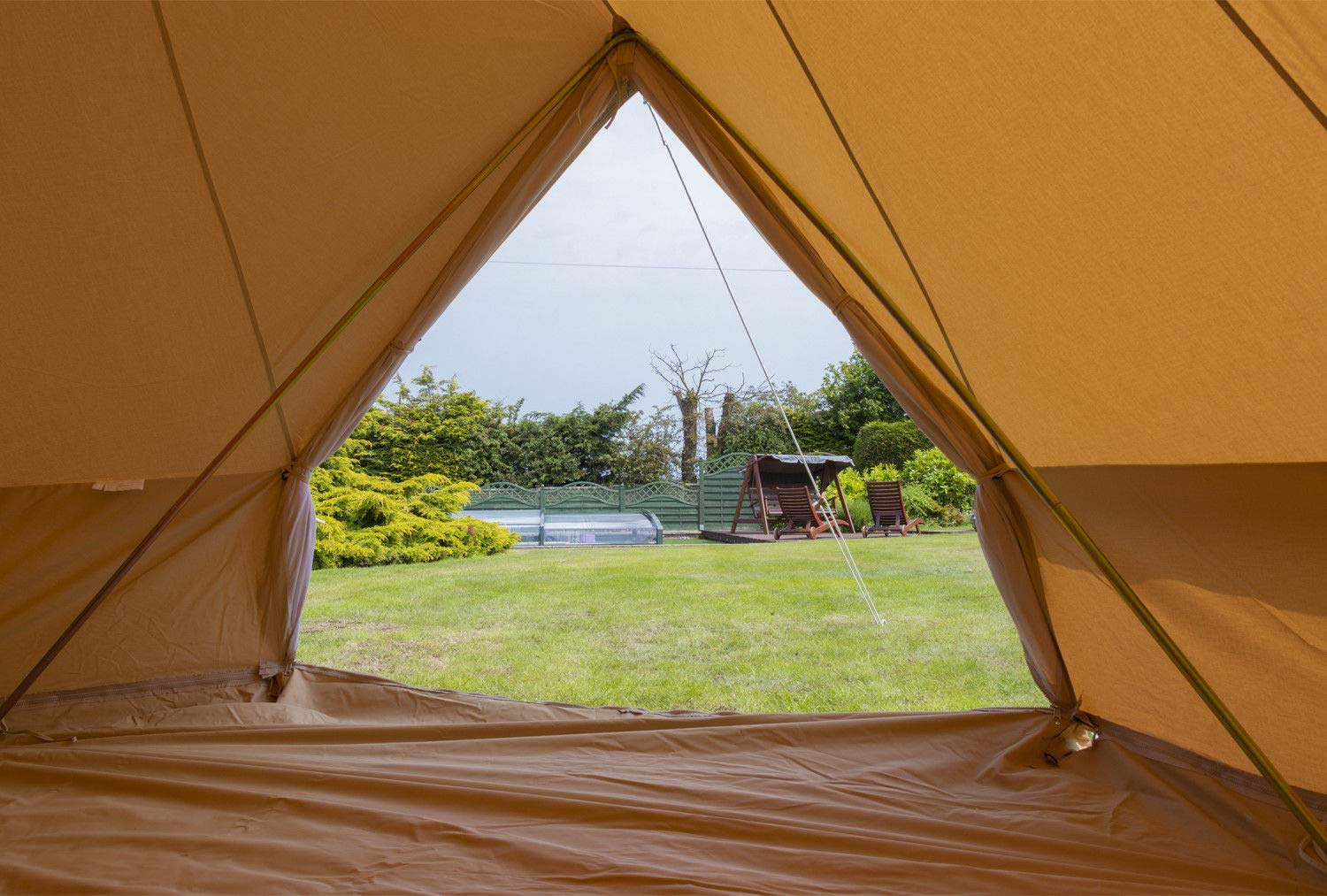 Camping Glamping Luxury Teepee Andes 4m 100/% Cotton Canvas Bell Tent With Heavy Duty Zipped In Groundsheet Festival