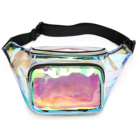 566b226dd1ed Holographic Fanny Pack for Women, Waterproof Waist Bag with Adjustable Belt  for Festival, Party Travel (Clear-Iridescent)