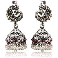 Look Ethnic Silver Oxidized Green maroon Jhumki Earrings for Women