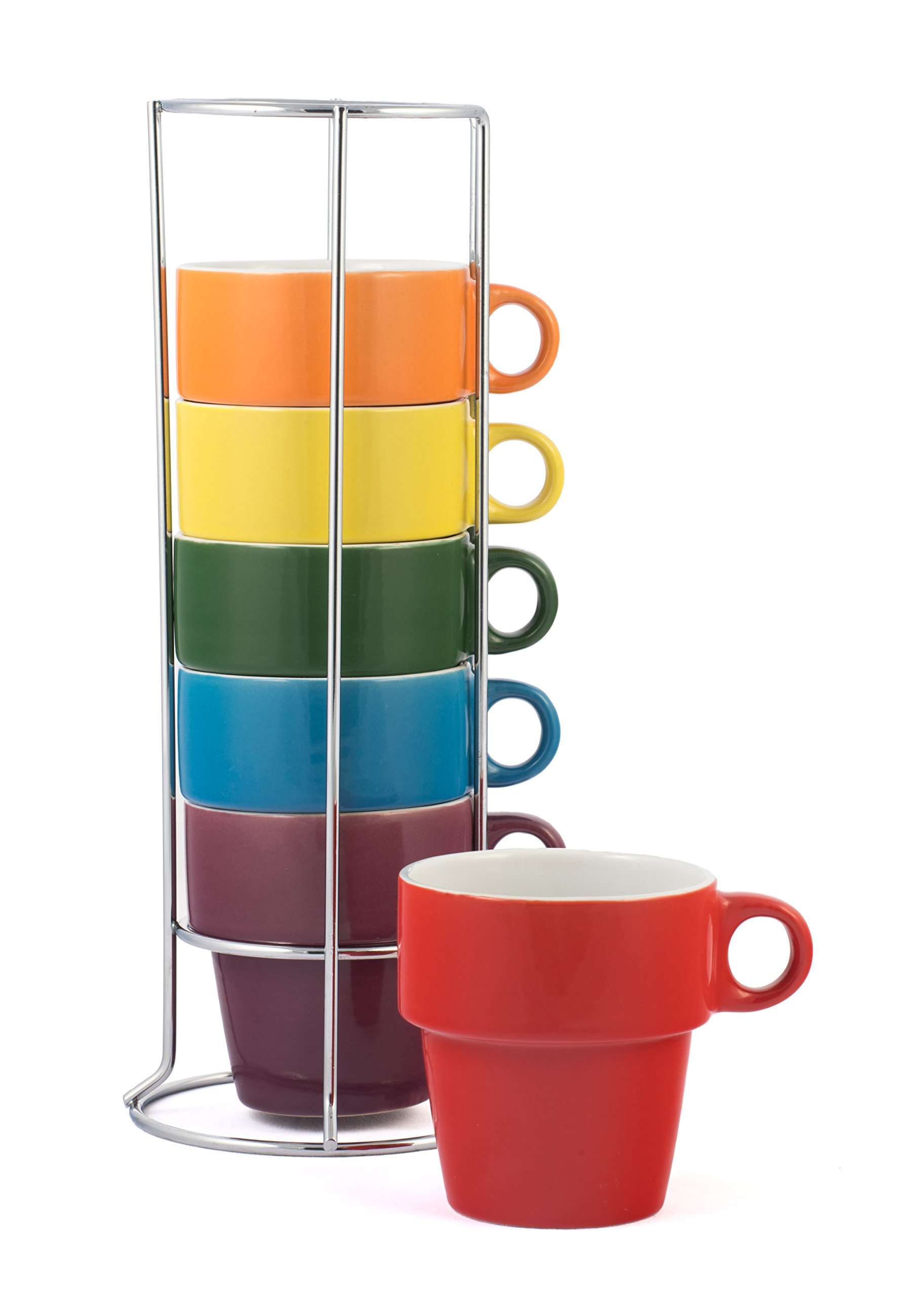 Gypsy Color Ceramic Coffee Mug Set of 6 Medium (8 oz.) Stackable Coffee Cups with Chrome Stand, Mulicolor Rainbow Flag Colors