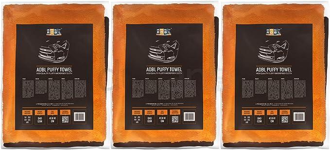 3x Adbl Puffy Towel Premium Mikrofasertuch Polier Trockentuch 41x41cm 840 Gsm Auto