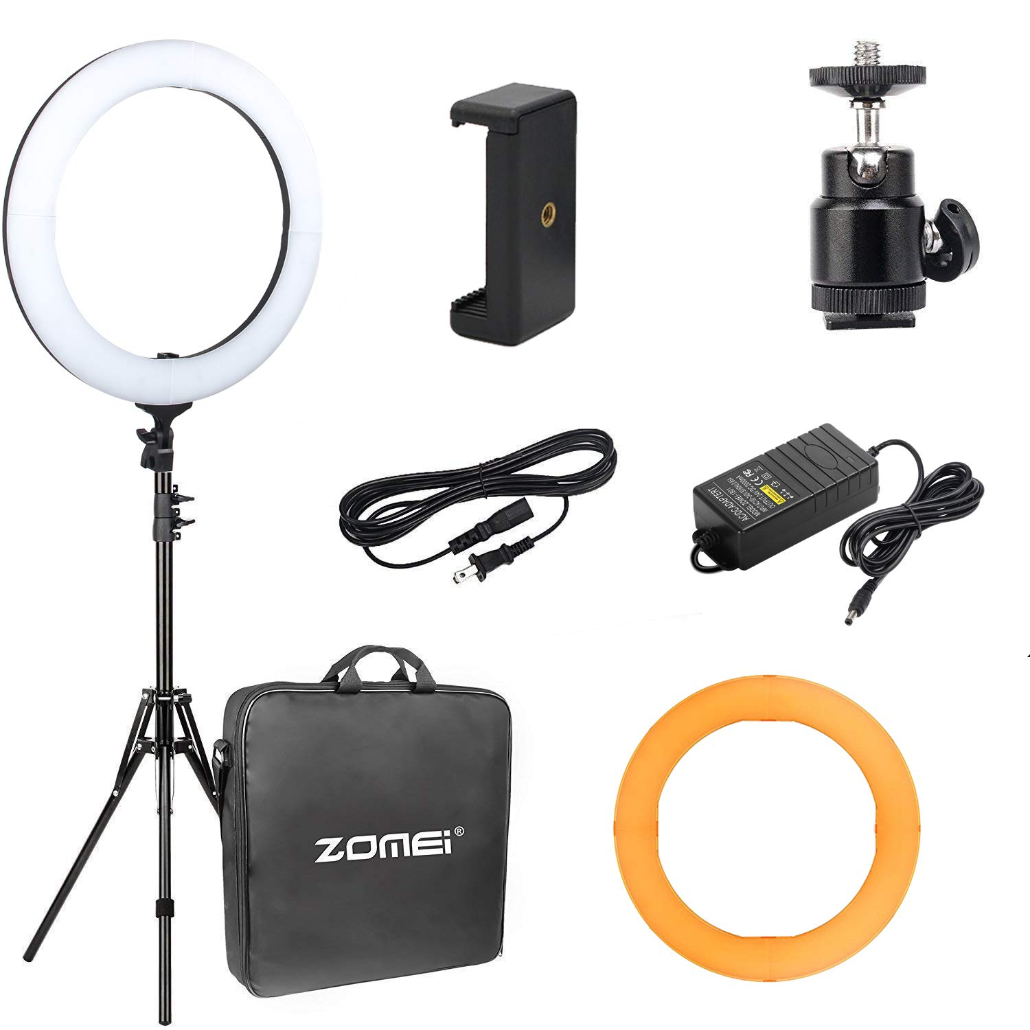 18\'\' Ring Light with 70\'\'stand,ZoMei Dimmable LED Ring Light with tabletop stand for making up, youtube videos with ballhead, phone holder & diffuser cloth
