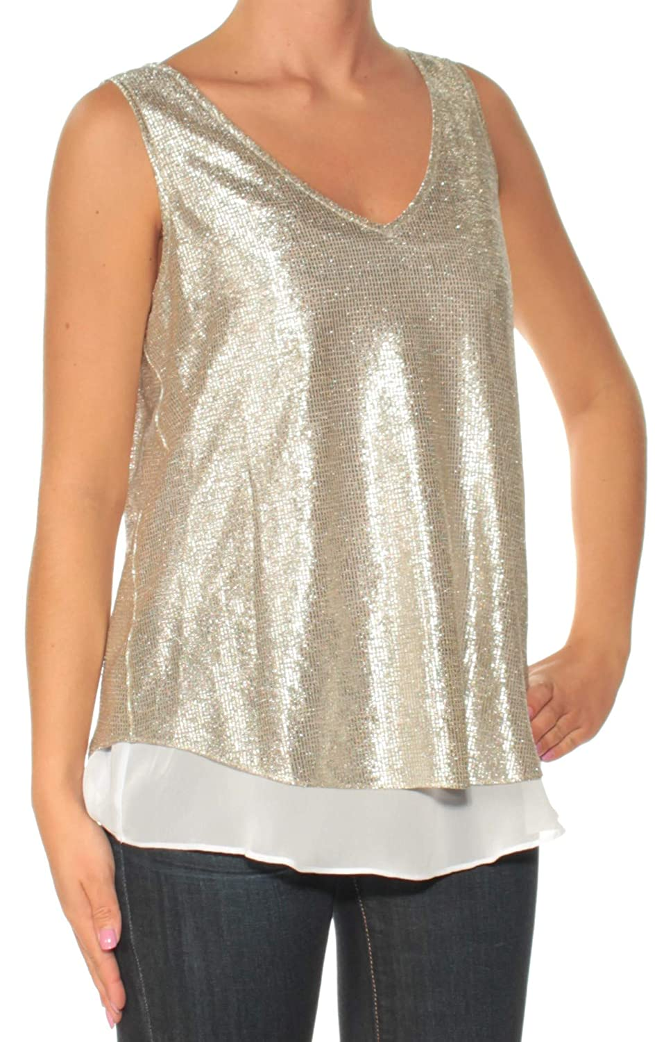 Amazon.com  INC  59 Womens New 1263 Silver V Neck Sleeveless Casual Top XS  B+B  Clothing