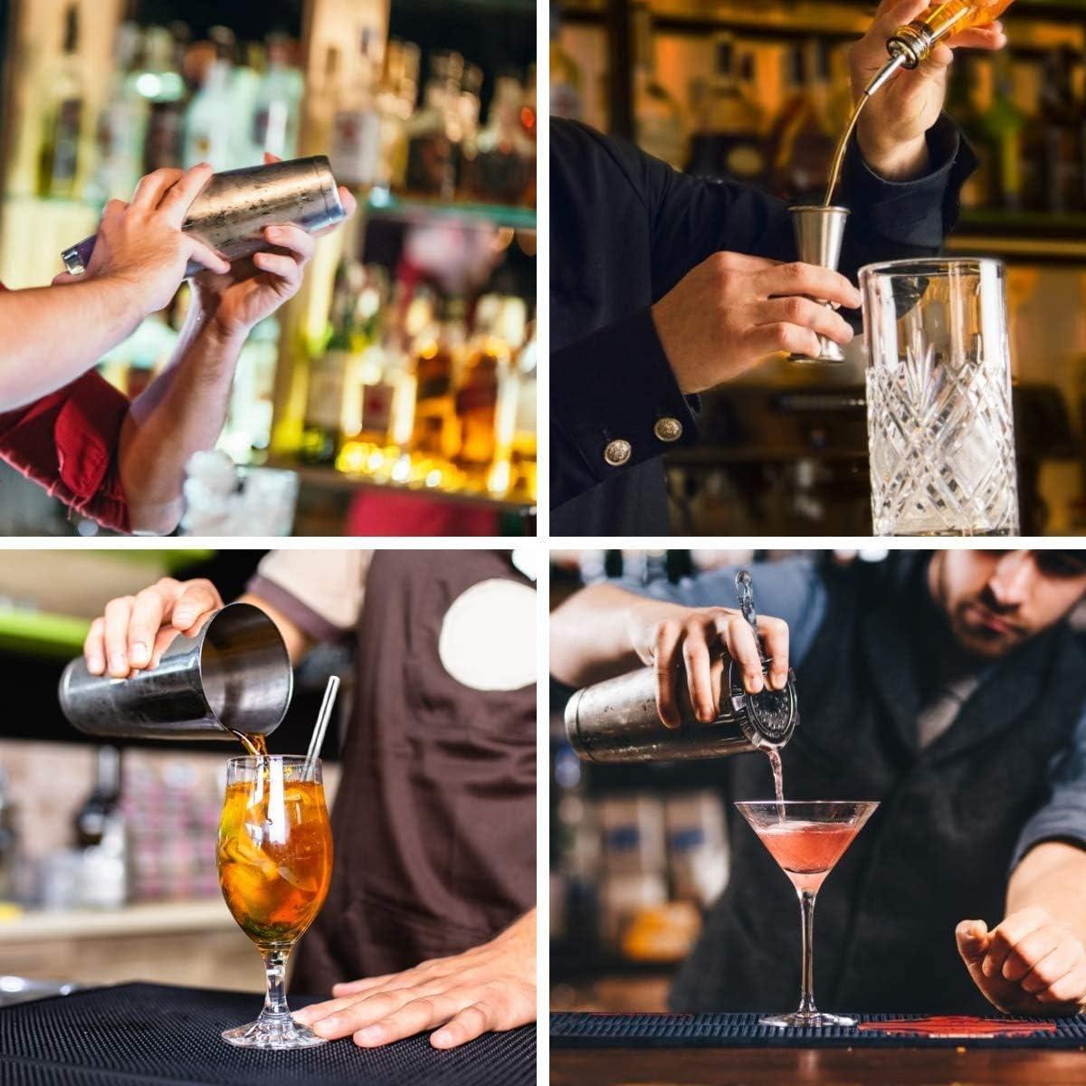 Shaker /à cocktail et passoire Boston Barender Bar Shaker avec doseur double face Hawthorne Tube 6 pi/èces.