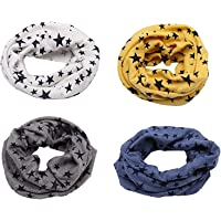 Richaa 4 PCS Infinity Scarves para niños, Star Winter Cotton Neck Warmer para niños niñas Multiuso O-Ring Collar…