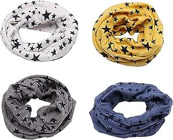 Richaa 4 PCS Infinity Scarves para niños, Star Winter Cotton Neck Warmer para niños niñas Multiuso O-Ring Collar Bufandas Sombrero Bandana