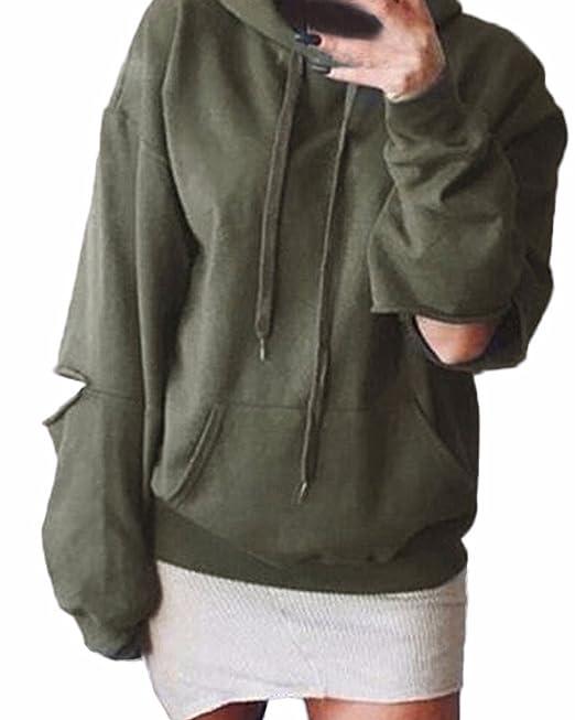ZANZEA Mujer Sudadera Deportivo Larga Manga Rota Codo Rasgado con Capucha Pullover Jumper Esercito verde ES