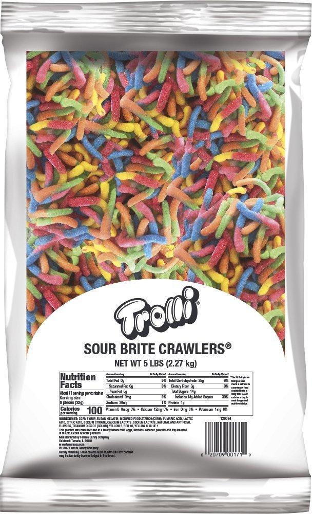 Trolli Sour Brite Crawlers Gummy Worms, 5 Pound Bulk Candy Bag Sour Gummy  Worms