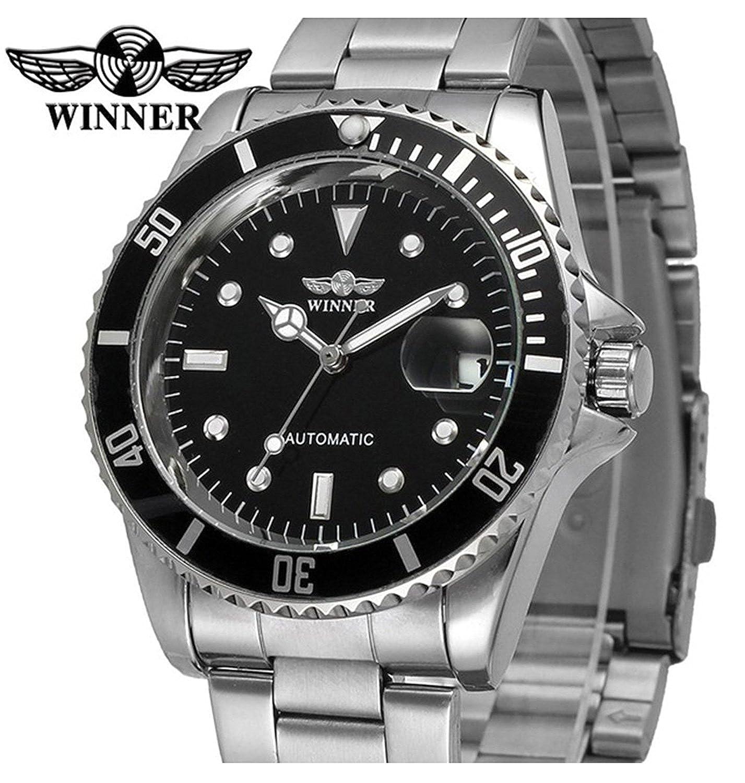 Amazon.com: Luxury Mens Automatic Mechanical Watches Rotatable Bezel Full Steel Calendar Luminous Waterproof Watch (Silver Black): Watches