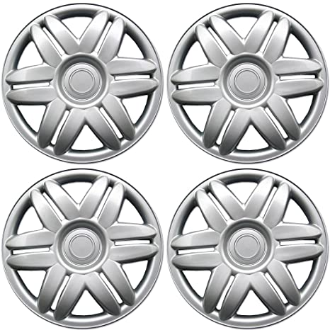 BDK 15 Inch Hubcaps Wheel Protection, OEM Replacement, Easy Installation, Total 4 Pieces