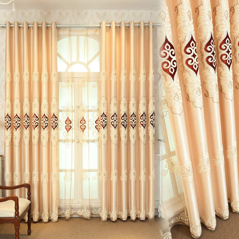 Gxi Floral Embroidery Blackout Curtain Drapes 2 Panels Grommet for Living Room Decorative Beige Curtain Thermal Insulated Window Treatment Set,Each Panel 96 inches Long by 39 inch Width