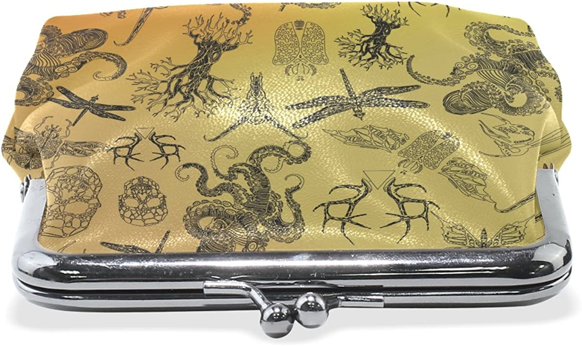 Sunlome Gothic Thin Line Octopus Skull Dragonfly Coin Purse Change Cash Bag Small Purse Wallets for Women Girl