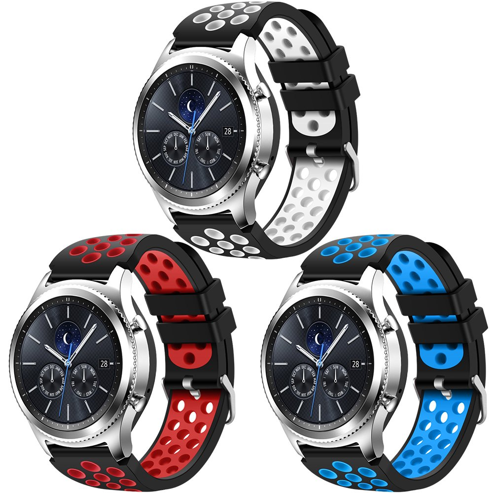 CreateGreat for Samsung Gear S3 Frontier and Classic Watch Soft Replacement Breathable Sport Bands with Air Holes for Samsung Gear S3 Smart Watch Band 3 Pack