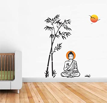 2a13b750c87 Buy Asmi Collections Wall Stickers Meditating God Buddha Under Bamboo Tree  Online at Low Prices in India - Amazon.in