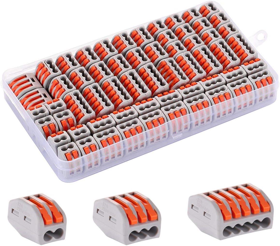 inklusive 20 PCT-212 Drahtverbinder mit Federdruckhebel 60 St/ück WEAHHAL Elektrische Steckverbinder 10 PCT-215 angespannte und flexible Drahtkabel Hebelverbinder f/ür massive 30 PCT-213