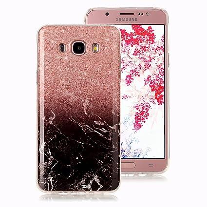 Funda Mármol para Samsung Galaxy J7 2016, Ronger Carcasa Gel TPU Silicona Marble Case Cover Funda Ultra Fino Flexible con Patrón de Piedra para Funda ...
