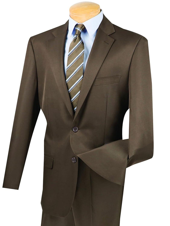 VINCI Men/'s Gray 2 Button Classic Fit Suit w// Flat Front Pants NEW