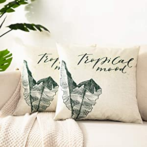 Kerothen Leaf Throw Pillow Covers - Decorative Tropical Green Leaf Pattern Throw Pillows Covers Cozy Farmhouse Couch Outdoor Palm Banana Tree Leaf 16x16 Cushion Cover Throw Pillow Cases 2 Pack