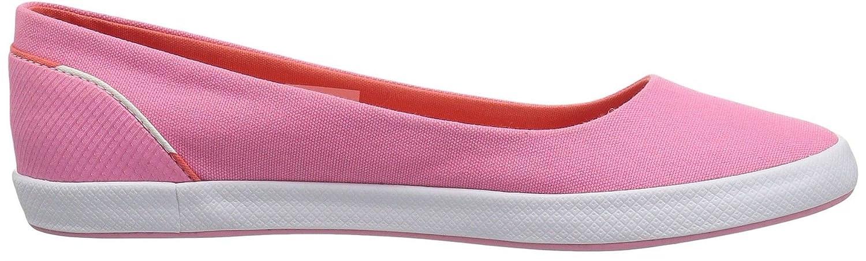 #Lacoste Lancelle Balerina 118 Rosa Rosa 118 Bianco Tela Donne Slipons Scarpe - e358db